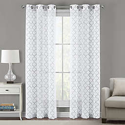 Sydney Embroidered Ogee Grommet Sheer Window Curtain Panel Pair