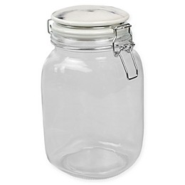 Home Basics Glass Canister with White Marble Lid