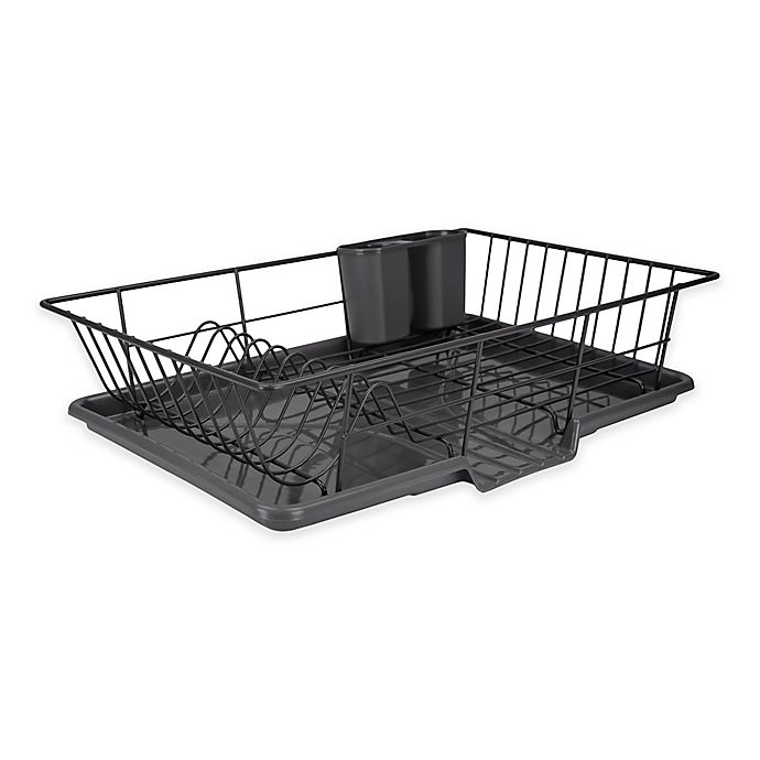 Buy Home Basics 174 3 Piece Dish Drainer In Black From Bed
