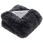 Faux Shadow Fox Fur Throw Blanket in Dark Grey
