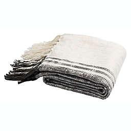 Alita Metallic Throw Blanket in White/Grey