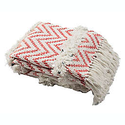 Sydney Fringe Throw Blanket in Orange/White