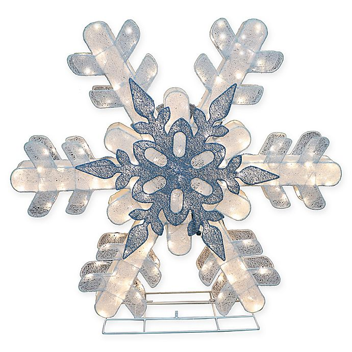 Alternate image 1 for Puleo International 48-Inch Lighted Snowflake Yard Art