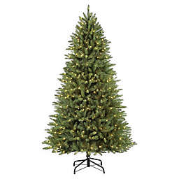 Puleo International 7.5-Foot Pre-Lit Fraser Fir Artificial Christmas Tree with Clear Lights
