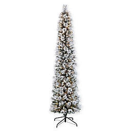 Puleo International 7.5-Foot Pre-Lit Flocked Pencil Portland Pine Christmas Tree