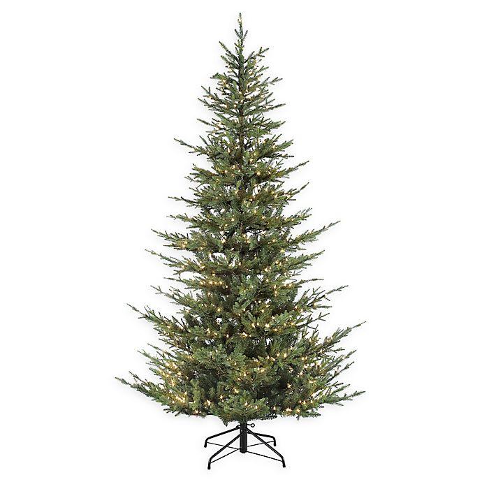Alternate image 1 for Puleo International 7.5-Foot Natural Fir Pre-Lit Narrow Artificial Christmas Tree
