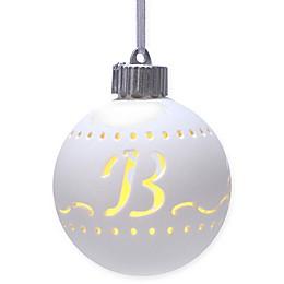Monogram Letter Porcelain LED Christmas Ornament in White