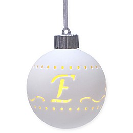 Monogram Letter Porcelain LED Christmas Ornament in White