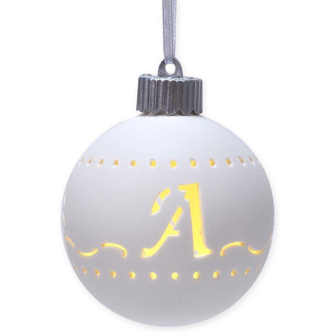 Alternate image 1 for Monogram Letter Porcelain LED Christmas Ornament in White
