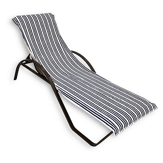 Alternate image 1 for Morgan Home Cotton Quick-Dry Striped Lounge Chair Coverl in Navy/White