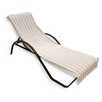 Morgan Home Cotton Quick-Dry Striped Lounge Chair Coverl in Navy/White