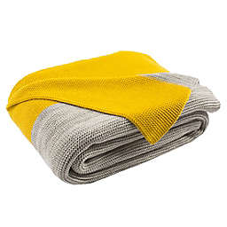 Sun Kissed Knit Throw Blanket in Yellow/Light Grey