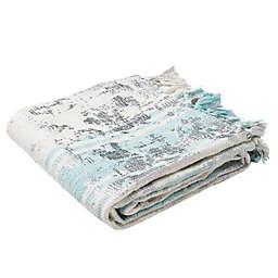 Nicola Metallic Throw Blanket in White/Blue