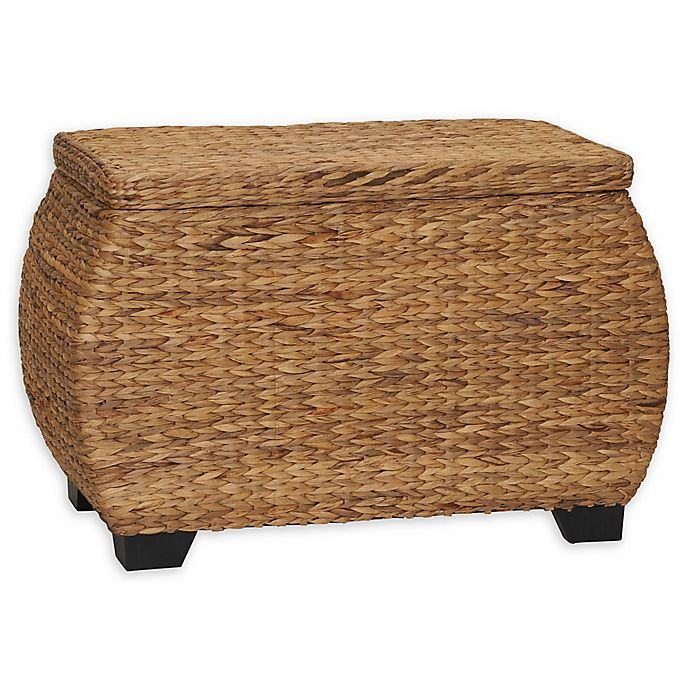 Household Essentials Large Curved Wicker Storage Chest With
