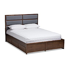 Baxton Studio Macey Queen Storage Bed in Dark Grey/Walnut