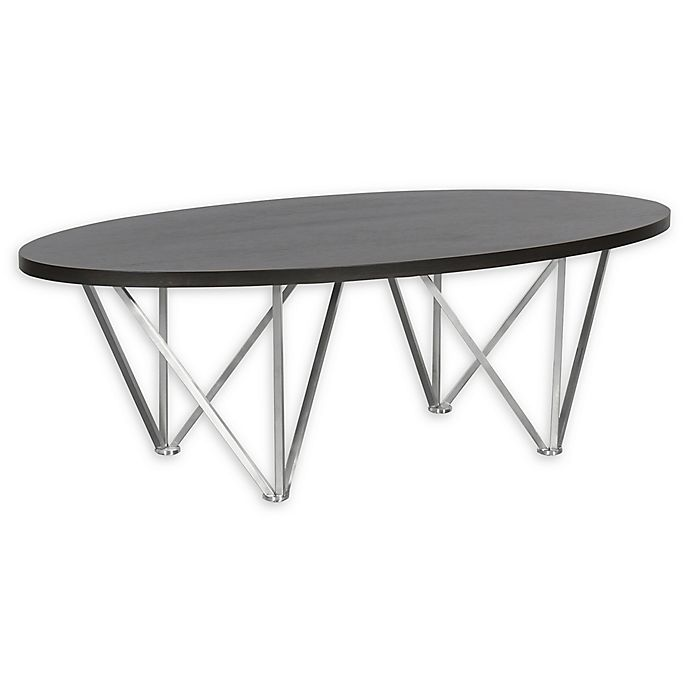 Alternate image 1 for Armen Living Emerald Stainless Steel and Wood Coffee Table