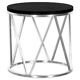 Armen Living Emerald Stainless Steel and Wood End Table