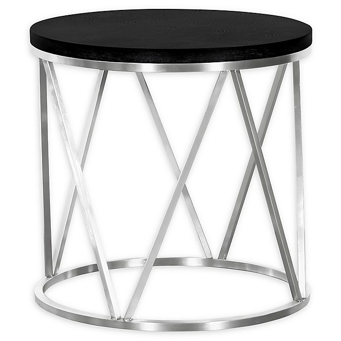 Alternate image 1 for Armen Living Emerald Stainless Steel and Wood End Table