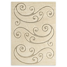 Modway Sprout Scrolling Vine Area Rug in Beige/Cream