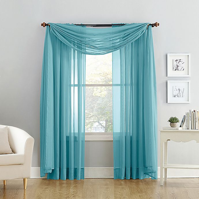 Alternate image 1 for Voile Sheer Window Curtain Panel and Scarf