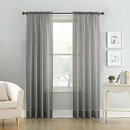Voile 108-Inch Sheer Rod Pocket Window Curtain Panel in Charcoal