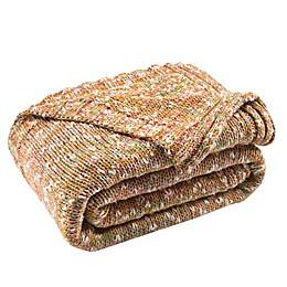 Darling Knit Throw Blanket in Mustard/Ivory