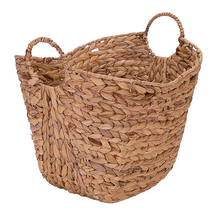 Household Essentials Water Hyacinth Wicker Basket With Handles