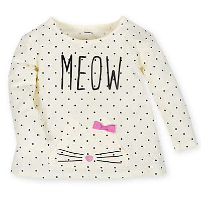 """Gerber® Size 0-3M """"Meow"""" Long Sleeve Top in White"""