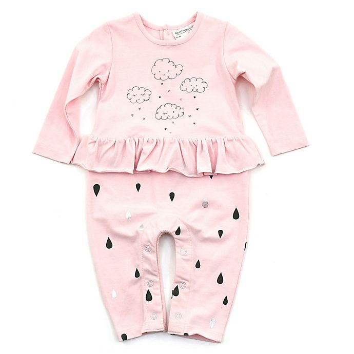 Alternate image 1 for Kidding Around Size 9M Cloud and Raindrops Coverall in Pink