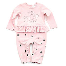Kidding Around Cloud and Raindrops Coverall in Pink
