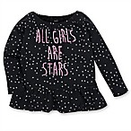 Gerber® Stars Size 0-3M Long Sleeve T-Shirt in Black