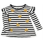 Gerber® Size 3M Striped Gold Heart Long Sleeve Top in Black