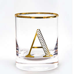 Qualia Monogrammed Letter Double Old Fashioned Glasses in Gold (Set of 4)