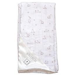 Zalamoon Plush Strollet Monogram Blanket with Satin Trim