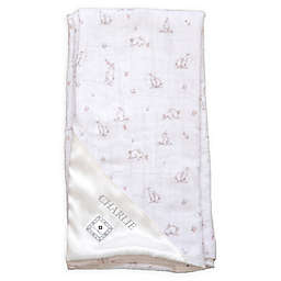 Zalamoon Plush Strollet Monogram Blanket with Satin Trim