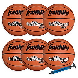 Franklin® Sports 6-Pack Official Size Grip-Rite 100 Rubber Basketballs with Pump