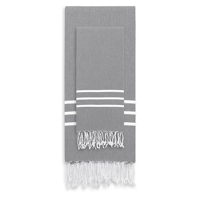 Alternate image 1 for Linum Home Textiles Alara 2-Piece Beach Towel Set in Grey