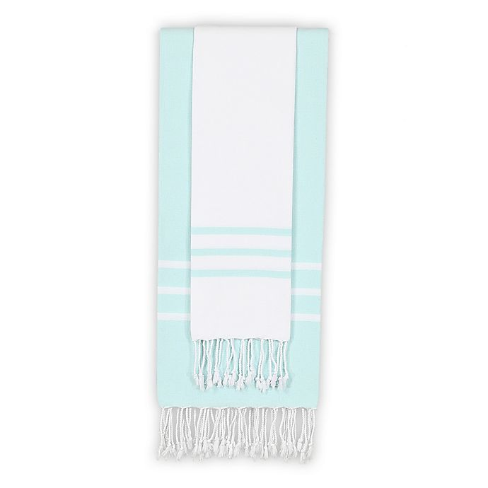 Alternate image 1 for Linum Home Textiles Alara 2-Piece Beach Towel Set in White/Aqua