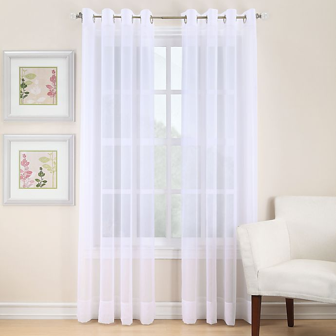 Alternate image 1 for Voile 95-Inch Sheer Grommet Window Curtain Panel in White