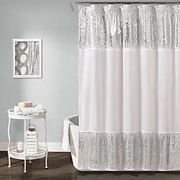 Lush Décor Shimmer Sequins Shower Curtain in Silver