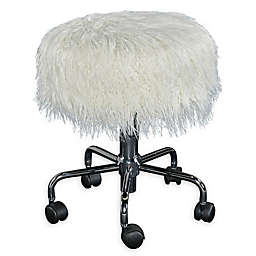 Ollie Faux Fur Rolling Swivel Stool In White