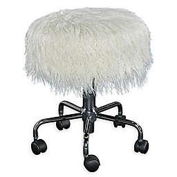 Ollie Faux Fur Rolling Swivel Stool in White