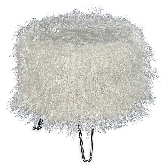 Alternate image 1 for Addie Faux Fur Pin Leg Vanity Stool in White
