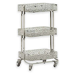 Lexy Floral 3-Tiered Metal Storage Cart