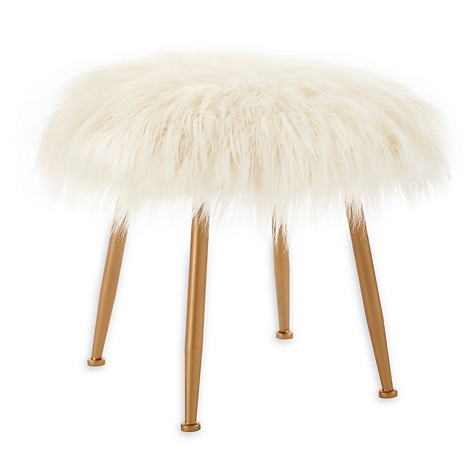 Alternate image 1 for Grayton Faux Fur Vanity Stool