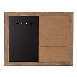 DesignOvation Beatrice Framed Magnetic Chalkboard and Burlap Pockets Wall Organizer