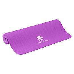 "Life Energy 4mm Premium TPE Ekosmart ""Eat, Sleep, Yoga, Repeat"" Yoga Mat in Purple"