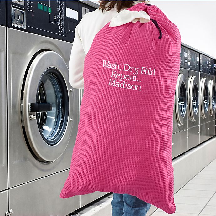 Alternate image 1 for Write Your Own Embroidered Laundry Bag in Pink