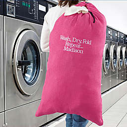 Write Your Own Embroidered Laundry Bag in Pink