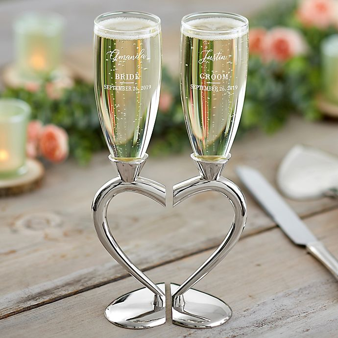 Alternate image 1 for Connected Hearts Wedding Flutes (Set of 2)